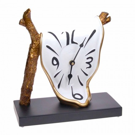 Horloge de table design moderne en résine peinte à la main fabriquée en Italie - Cyan
