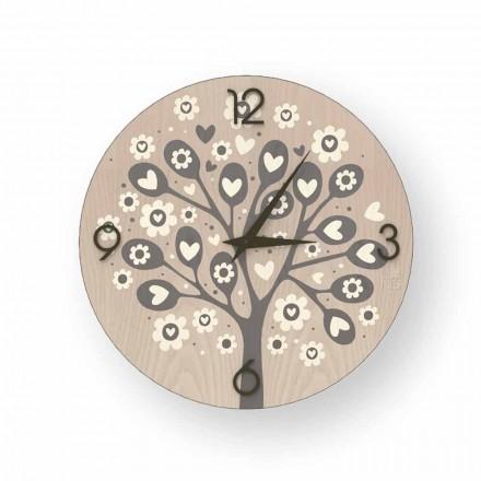Horloge murale de design moderne Tree Of Heart en bois, produite en Italie
