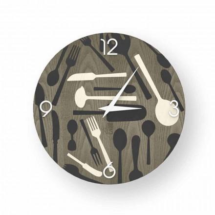 Horloge murale design Ispra en bois, produite à 100% en Italie