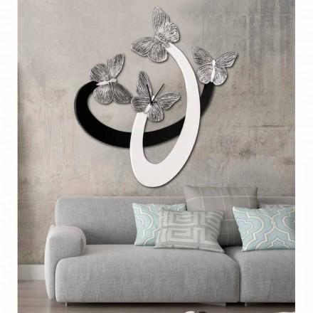 Horloge de design mural ivoire/noir faite à main en Italie Zenia