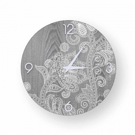Horloge murale ronde en bois, design moderne, Meolo, produite en Italie