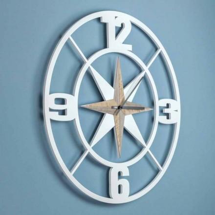 Grande Horloge Murale Design en Bois Shabby Blanc et Marron - Charnière