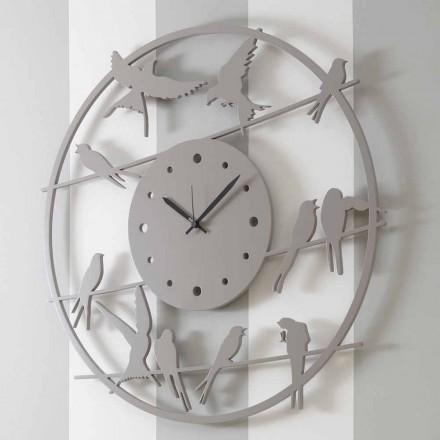 Grande Horloge Murale Design Moderne en Bois Rond Coloré - Oiseaux