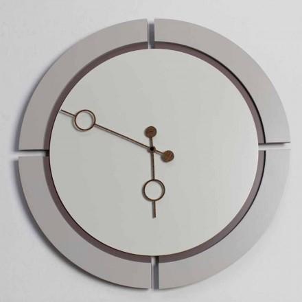 Grande Horloge Murale Ronde Design Moderne en Bois Marron et Beige - Osvego