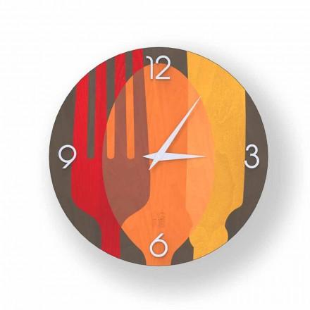 Horloge murale moderne Agra en bois, produite en Italie