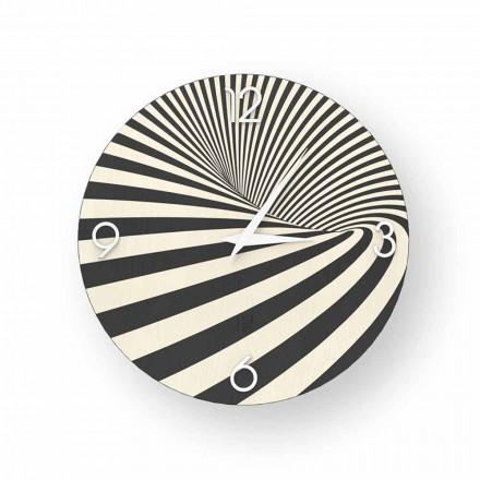 Horloge design en bois décoré Azzio, produite à 100% en Italie