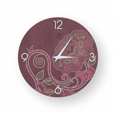 Horloge en bois décorée de design moderne Dolo, produite en Italie