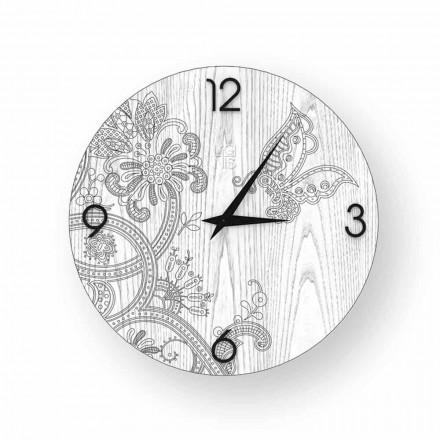 Horloge murale design moderne en bois Ton, produite en Italie