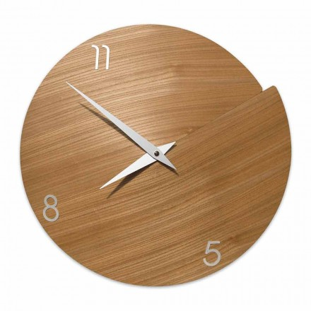 Horologe Murale Moderne Atrisanal en Bois Naturel Made in Italy – Cratere