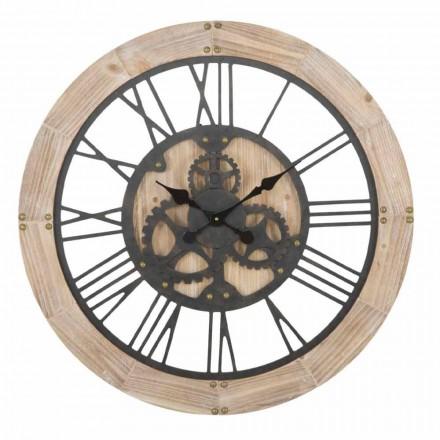 Horloge Murale Ronde Diamètre 80 cm de Design en Fer et MDF - Silva