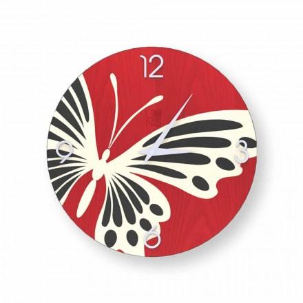 Horloge murale ronde design Zelbio en bois, produite en Italie