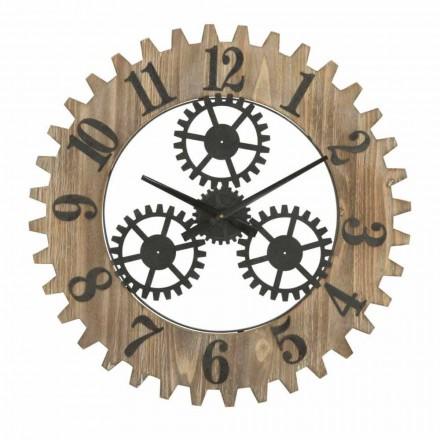 Horloge murale ronde design moderne en fer et MDF - Gitta