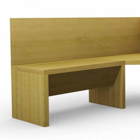 Banc d'angle en bois de chêne avec conteneur design moderne, Cassy