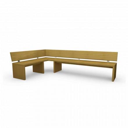 Banc d'angle moderne en bois de chêne, fabriqué en Italie, Misty
