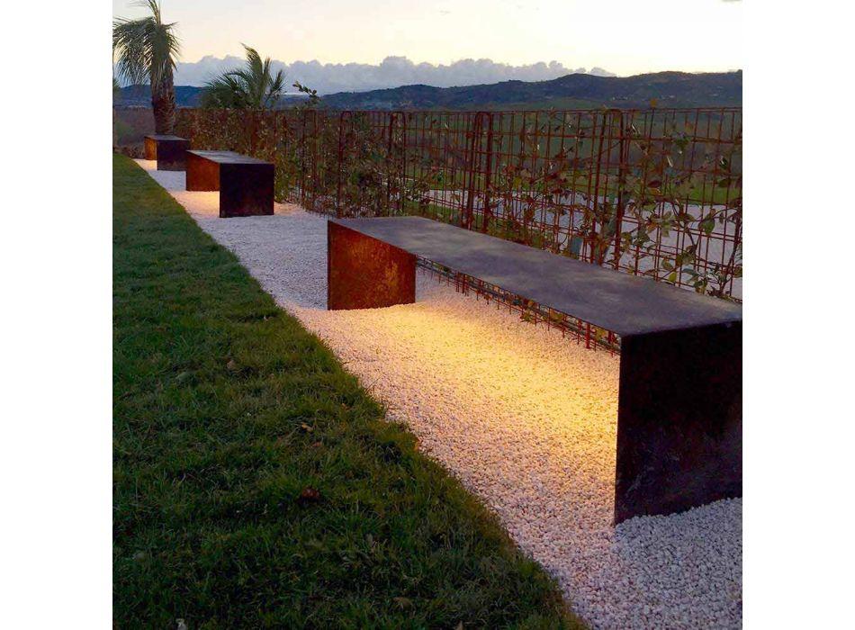 Banc d'extérieur fabriqué à la main en acier avec éclairage LED Fabriqué en Italie - Magdalena