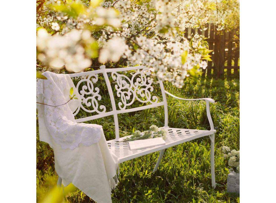 Banc de jardin empilable effet brillant en aluminium blanc - Sama