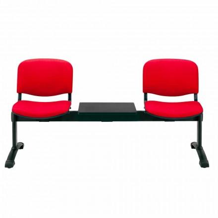 Banc de Salle d'Attente 2 Modules Assise en Tissu, Simili Cuir ou Hêtre – Carmela