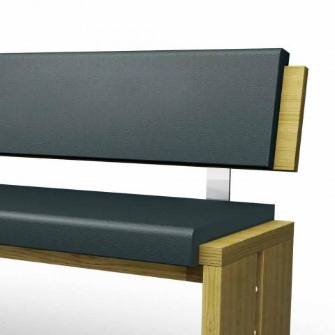 Banc linéaire design moderne en chêne gris et éco-cuir noir, Candy