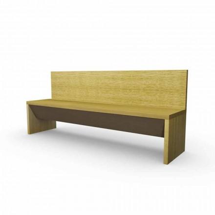 Banc moderne avec récipient en bois de chêne, fabriqué en Italie, Cassy