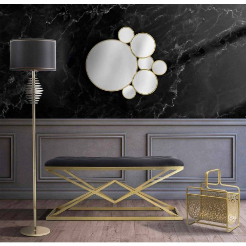 Banc rectangulaire de design moderne en fer et tissu - Haily