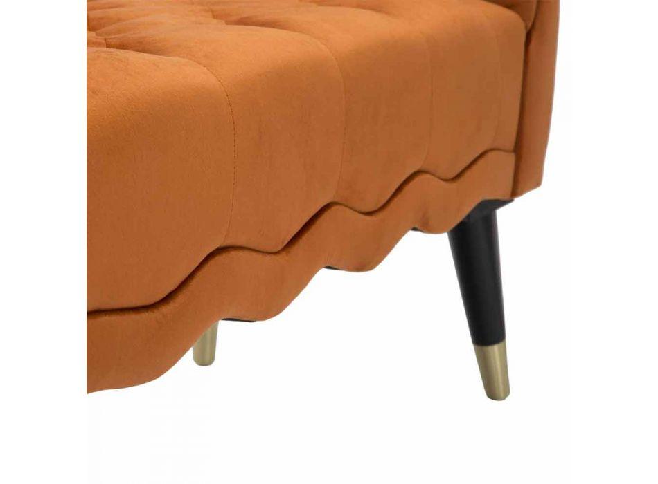 Banc rectangulaire de design moderne en bois et tissu - Theodore