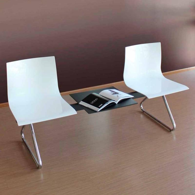 Banc de bureau 2 places avec table basse en acier et technopolymère coloré - Verenza