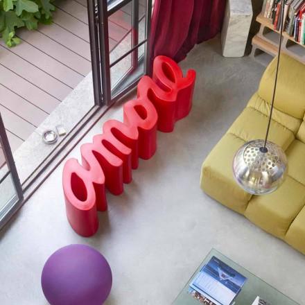 Banc coloré Design Slide / Amore pour l'extérieur / l'intérieur, fabriqué en Italie