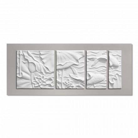 Panneau Mural Décoratif Design Moderne Céramique Blanche et Grise - Giappoko