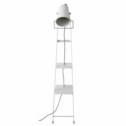 Lampadaire de salon en métal blanc ou noir mat avec étagères - Butler