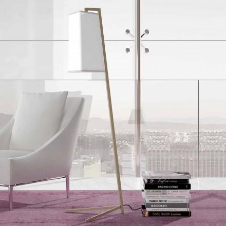 Lampadaire en métal avec abat-jour moderne en coton blanc fabriqué en Italie - Barton