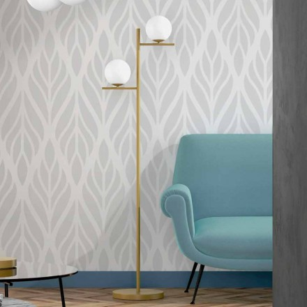 Lampadaire moderne en métal finition laiton et verre opale fabriqué en Italie - Carima
