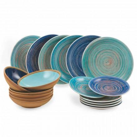 Asiettes colorés et modernes 18 Pièces en grès Service de table complet - Egadi