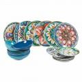 Asiettes colorés et ethniques modernes en Porcelaine et grès 18 Pièces - Maia