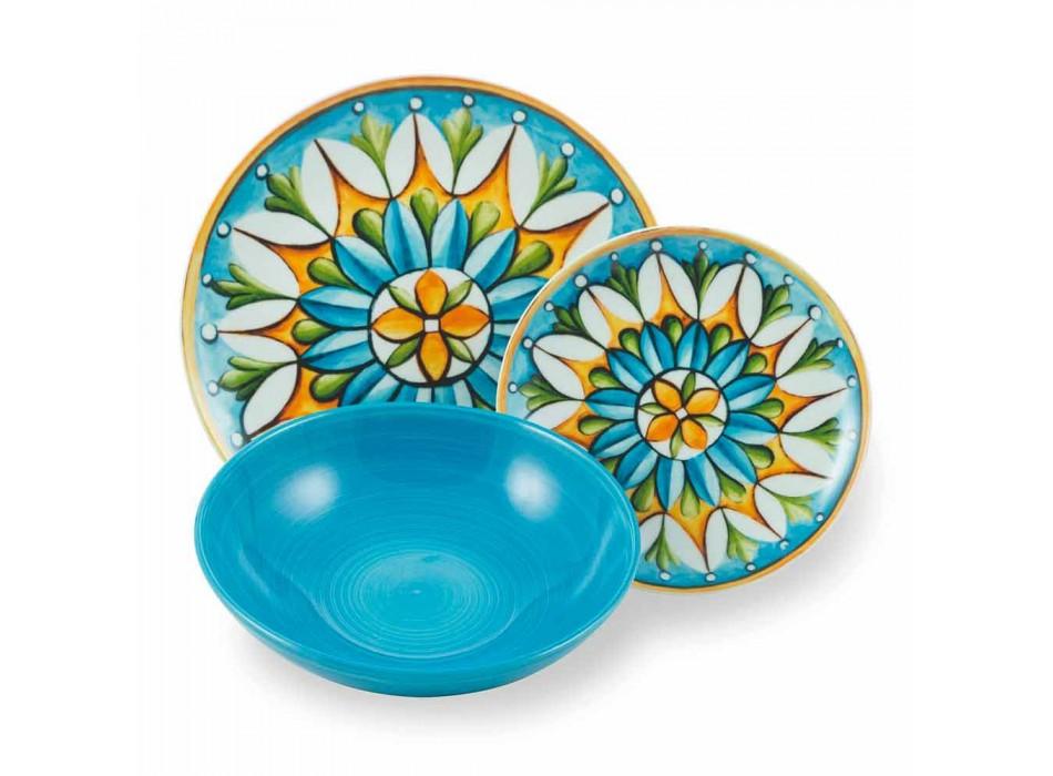 Assiettes Ethniques Colorées et Modernes en Porcelaine et Grès Service 18 Pièces - Maia