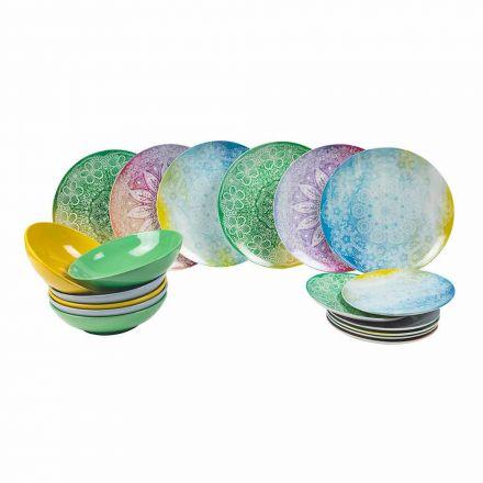 Plats colorés en porcelaine 18 pièces Table de service - Ipanema