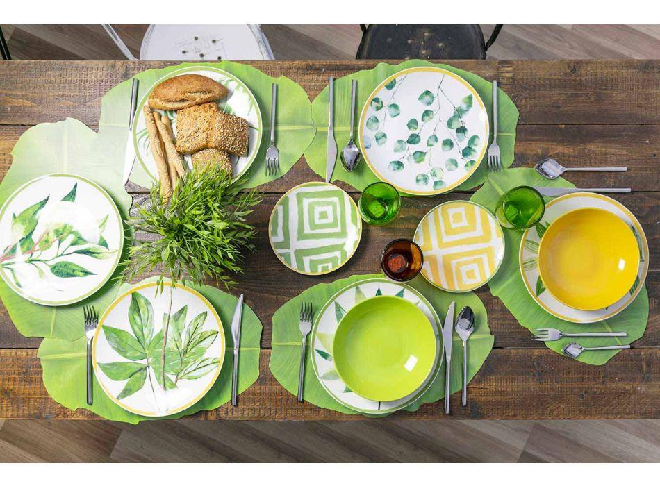 Assiettes En Porcelaine Et Grès Coloré Service Moderne Complet 18 Pièces - Albore