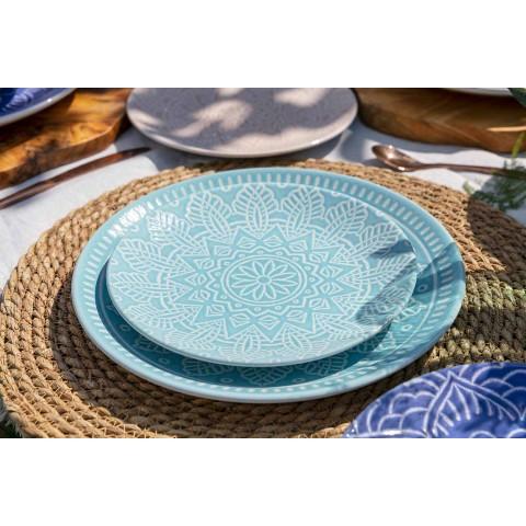 Assiettes colorées modernes 18 pièces Service de table complet à Gres - Creta