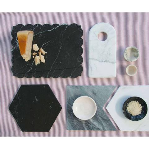 Assiettes de service en marbre de Carrare et Bardiglio Made in Italy, 2 pièces - Pois