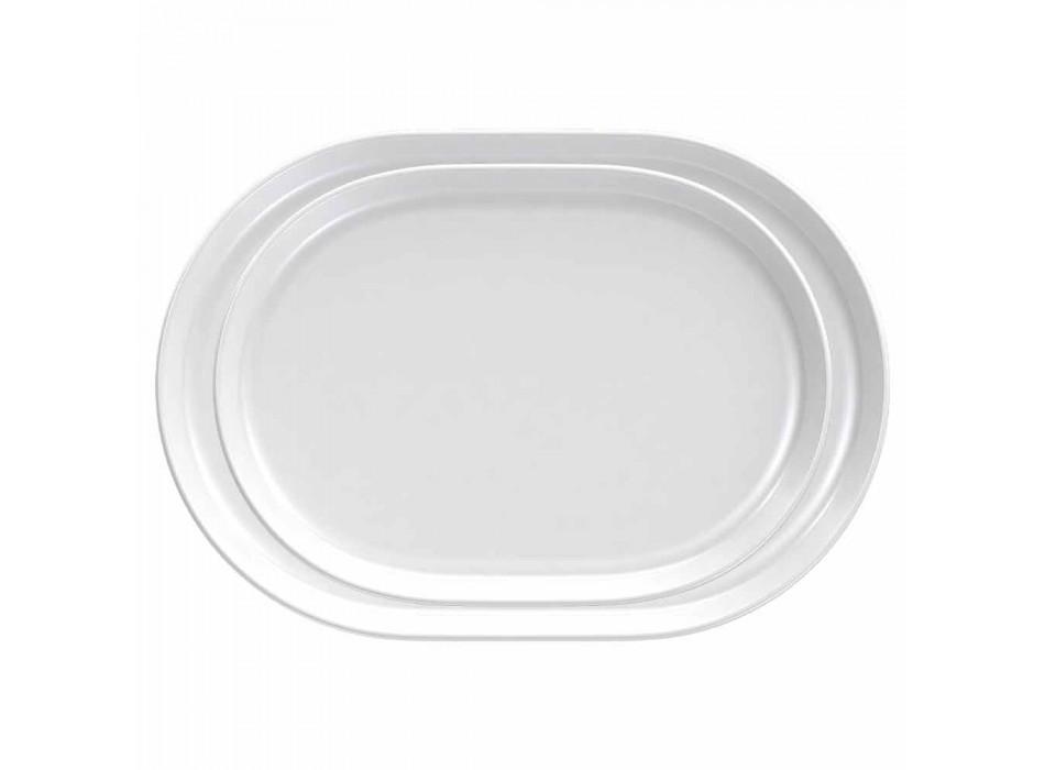 Assiettes de Service Design Ovale Blanc Moderne en Porcelaine 4 Pièces - Arctique