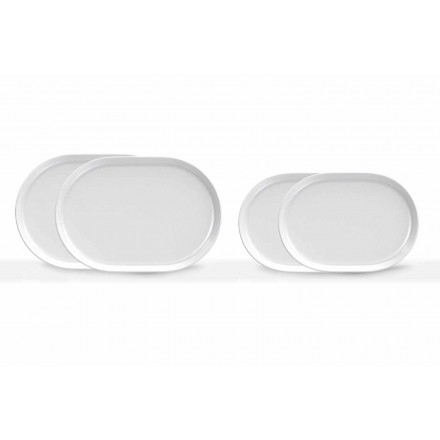 Assiettes de service ovales blanches au design moderne en porcelaine 4 pièces - Arctique