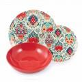 Assiettes Design Colorées en Porcelaine Service 18 Pièces - Zambie