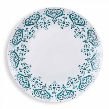 Assiettes Ethniques Colorées Service de Table en Porcelaine et Grès 18 Pièces - Grèce