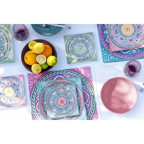 Assiettes Carrées Ethniques Colorées en Porcelaine et Grès Service 18 Pièces - Canaries