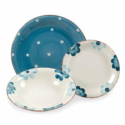 Asiettes en grès colorés et modernes Service 18 Pièces de Table Design - Mita