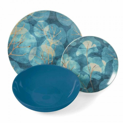 Assiettes en Grès et Porcelaine Bleues ou Roses Modernes 18 Articles de Table - Automne