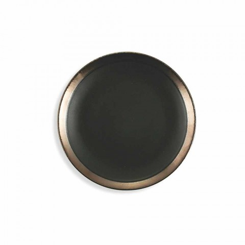 Ensemble de vaisselle moderne en plaques de grès noir et or 18 pièces - Oronero