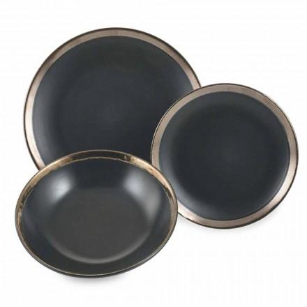 Asiettes en grès Noir et Or Service de table Complet Moderne 18 Pièces –Oronero