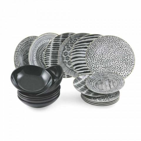 Assiettes en porcelaine et grès noir Service de table complet 18 pièces - Tribu