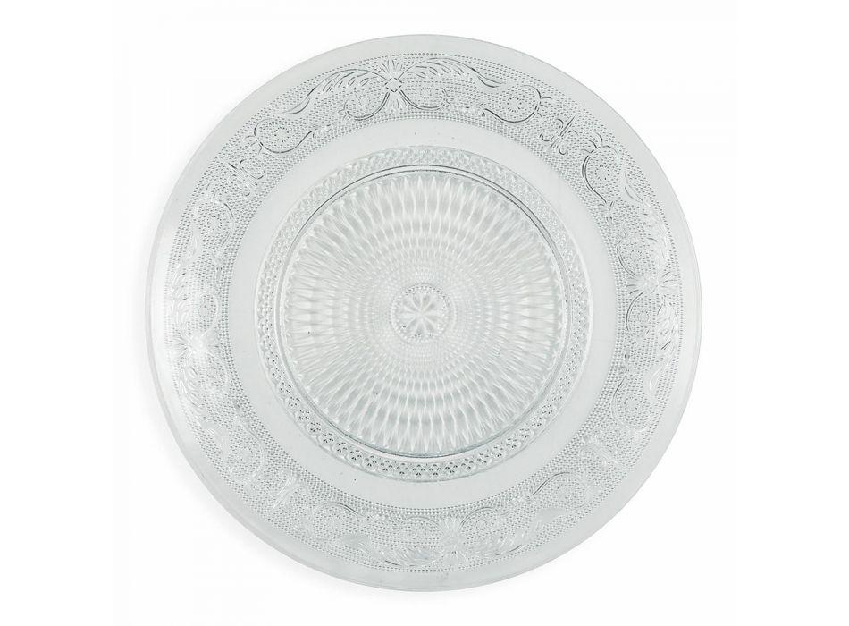 Assiettes Verre Transparent Luxe Décor Classique 18 Pièces - Palazzo