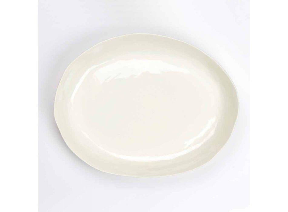 Assiette de service ovale en porcelaine blanche design de luxe - Arcimaesta